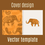 Cover design with indian elephant pattern Stock Images
