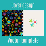 Cover design with kaleidoscope stars. Cover design for print with kaleidoscope stars, vector illustration Royalty Free Stock Image