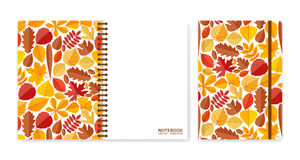 Cover design for notebooks or scrapbooks with autumn leaves Royalty Free Stock Photo
