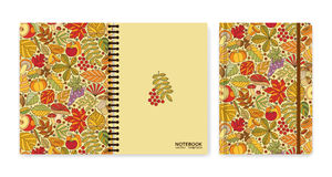 Cover design for notebooks or scrapbooks with autumn pattern Royalty Free Stock Photo