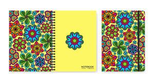 Cover design for notebooks or scrapbooks with beautiful ornamental flowers Stock Image
