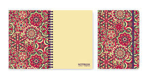 Cover design for notebooks or scrapbooks with beautiful ornamental flowers. Vector illustration. Royalty Free Stock Images