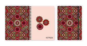 Cover design for notebooks or scrapbooks with beautiful ornamental flowers Stock Photos