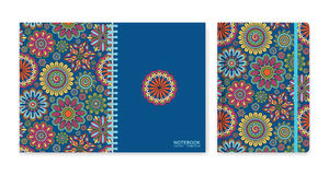 Cover design for notebooks or scrapbooks with beautiful ornamental flowers Stock Photography
