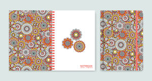 Cover design for notebooks or scrapbooks with beautiful ornamental flowers Royalty Free Stock Photos