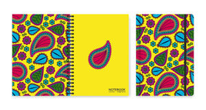 Cover design for notebooks or scrapbooks with beautiful ornamental paisley Stock Photos