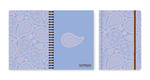 Cover design for notebooks or scrapbooks with beautiful ornamental paisley Stock Photography