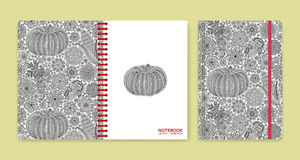Cover design for notebooks or scrapbooks with beautiful ornaments Stock Photography