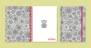 Cover design for notebooks or scrapbooks with beautiful ornaments Royalty Free Stock Images