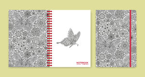 Cover design for notebooks or scrapbooks with beautiful ornaments Royalty Free Stock Photo