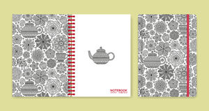 Cover design for notebooks or scrapbooks with beautiful ornaments Stock Image