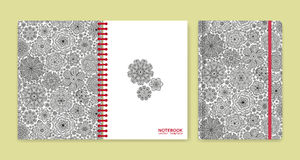 Cover design for notebooks or scrapbooks with beautiful ornaments Stock Photo