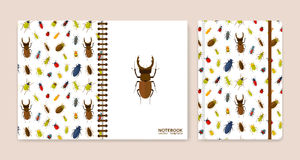 Cover design for notebooks or scrapbooks with bugs Royalty Free Stock Photos