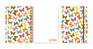 Cover design for notebooks or scrapbooks with butterflies Royalty Free Stock Photo