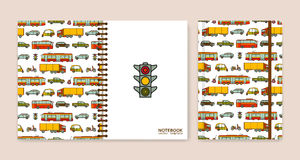 Cover design for notebooks or scrapbooks with cars and city transport Stock Photo
