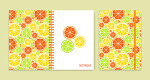 Cover design for notebooks or scrapbooks with citrus fruits Royalty Free Stock Image