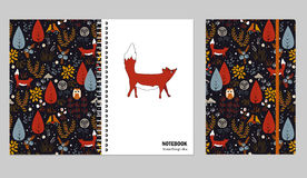 Cover design for notebooks or scrapbooks with doodle autumn forest and cute fox. Vector illustration. Stock Photography