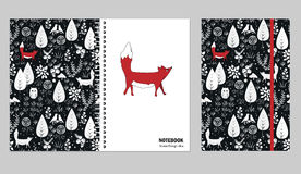 Cover design for notebooks or scrapbooks with doodle forest and cute fox. Vector illustration. Stock Photography