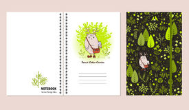 Cover design for notebooks or scrapbooks with doodle forest and cute monster. Vector illustration. Royalty Free Stock Images