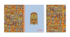Cover design for notebooks or scrapbooks with ethnic masks Royalty Free Stock Photography