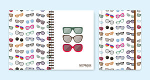 Cover design for notebooks or scrapbooks with eyeglasses Stock Image