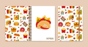 Cover design for notebooks or scrapbooks with fastfood icons Royalty Free Stock Images