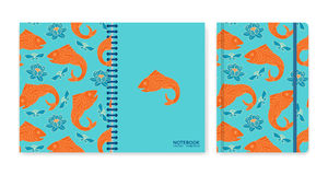Cover design for notebooks or scrapbooks with fishes and lotus Royalty Free Stock Images