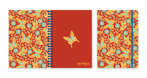 Cover design for notebooks or scrapbooks with flowers and butterflies Stock Images