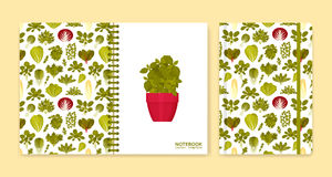 Cover design for notebooks or scrapbooks with green salads and vegetables Stock Photography
