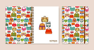 Cover design for notebooks or scrapbooks with hand bags Stock Images