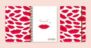 Cover design for notebooks or scrapbooks with lips Stock Photography