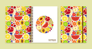 Cover design for notebooks or scrapbooks with many fruits Royalty Free Stock Images