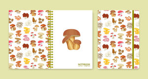 Cover design for notebooks or scrapbooks with mushrooms Royalty Free Stock Photography