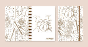 Cover design for notebooks or scrapbooks with musical instruments Stock Photos