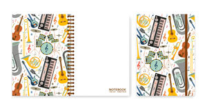 Cover design for notebooks or scrapbooks with musical instruments. Vector illustration. Stock Images