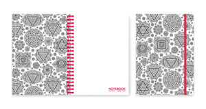 Cover design for notebooks or scrapbooks with ornamental chakras Stock Photography