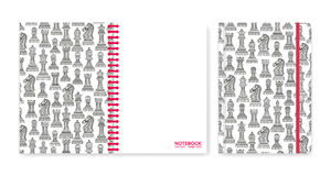 Cover design for notebooks or scrapbooks with ornamental chess pieces. Vector illustration Stock Image