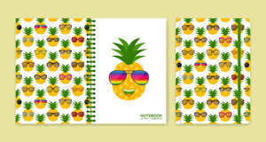 Cover design for notebooks or scrapbooks with pineapples and glasses Stock Photography