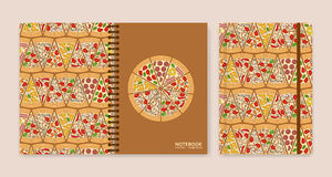 Cover design for notebooks or scrapbooks with pizza pieces. Vector illustration vector illustration