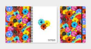 Cover design for notebooks or scrapbooks with realistic bright flowers and fruits Stock Photos