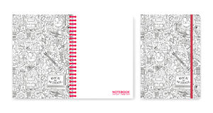 Cover design for notebooks or scrapbooks with school patterns Royalty Free Stock Photo