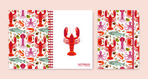 Cover design for notebooks or scrapbooks with seafood Stock Photo