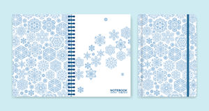 Cover design for notebooks or scrapbooks with snowflakes Stock Image