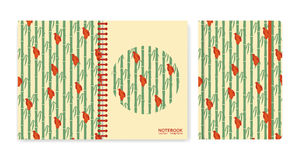 Cover design for notebooks or scrapbooks with sparrows sitting on bamboo Royalty Free Stock Images