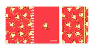 Cover design for notebooks or scrapbooks with sparrows Royalty Free Stock Photo