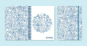 Cover design for notebooks or scrapbooks with sport and recreation line icons Stock Images