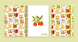 Cover design for notebooks or scrapbooks with superfood icons Royalty Free Stock Images