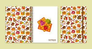 Cover design for notebooks or scrapbooks with sweets Stock Images