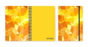 Cover design for notebooks or scrapbooks with triangular yellow pieces Stock Photos
