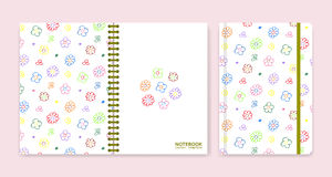 Cover design for notebooks or scrapbooks with wax crayon drawing Stock Photography